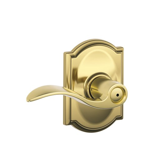 Door Brass Accents (Schlage Accent Lever with Camelot Trim Bed and Bath Lock in Bright Brass)