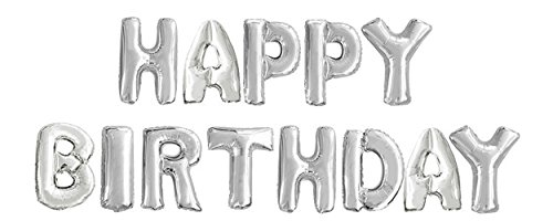 GOER Birthday Party Decorations,16 Inch Cute Silver HAPPY BIRTHDAY Alphabet Letters Foil Balloons with 20 Glue (Birthday Silver Balloon)
