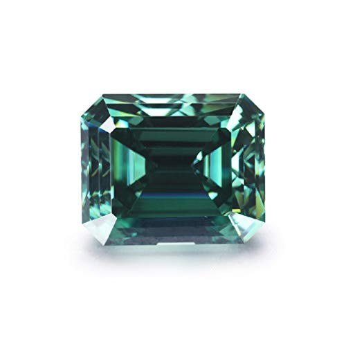 JEWELERYIUM 3.00CT Real Green Color Moissanite Diamond, VVS1 Clarity Moissanite Stone Emerald Cut Brilliant Gemstone for Jewelry Making, Ring, Earrings, Necklaces, Watches from JEWELERYIUM
