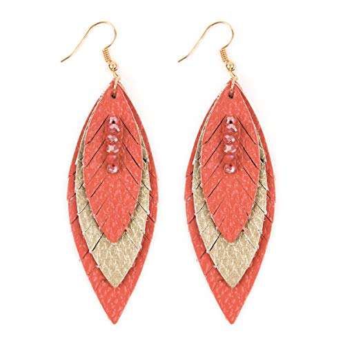 (Bohemian Lightweight Genuine Real Leather Geometric Drop Statement Earrings - Petal Leaf, Triple Feather, Teardrop Dangles, Scallop Disc Hoop (Triple Feather - Coral))