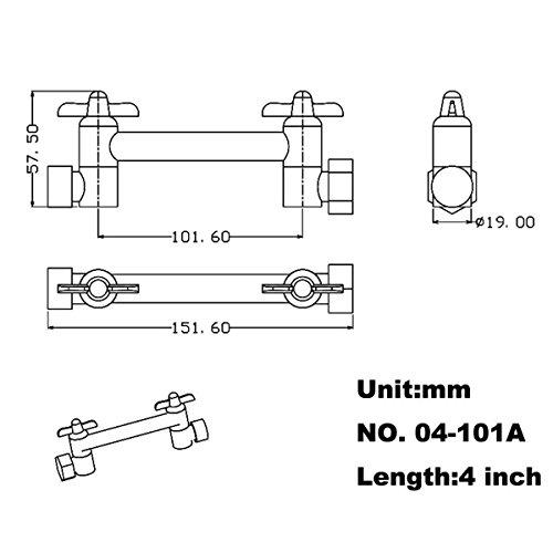 HANEBATH 4 Inch Brass Shower Arm Shower Head Combo Adjustable Height Arm Mount,Chrome by HANEBATH (Image #1)