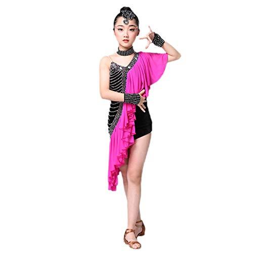 Children's Dance Costumes, Girls Rhinestones Latin Rumba Grading Dance Dress, Suitable for Stage Performance Competition Ballroom Dance (110-170cm) -