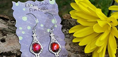 - Fire Opal Earrings, Dragon Breath Earrings, Estate Earrings, Vintage Style Earrings, Opal Earrings, Graduation gifts, Mother's Day gifts