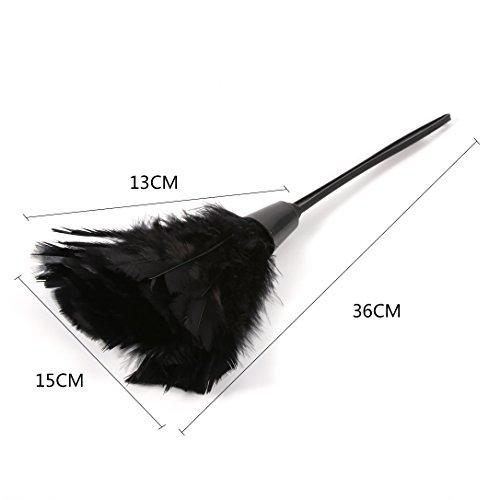 GLOGLOW Magic Anti Static Feather Duster Soft Turkey Feather Duster Brush with Black Handle Home Furniture Car Cleaning Tools(Black) by GLOGLOW (Image #1)