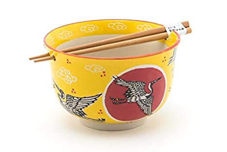 Fuji Merchandise Japanese Design Quality Ceramic Ramen Udong Noodle Bowl with Chopsticks Gift Set 6.25 Inch Diameter Goldfish