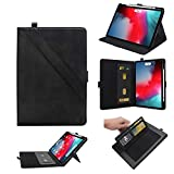 TechCode Pro 11 iPad Case, Premium PU Leather Folio Stand Protective Case for iPad Pro 11 inch with Pen Holder/Card Slots/Multiple Viewing Angles Tablet Cover, Supports Pen Wireless Charging,Black