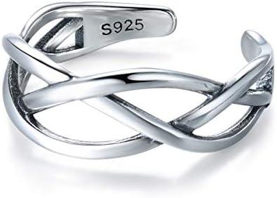 [スポンサー プロダクト]S925スターリングシルバーヴィンテージ織人格オープン調整可能なリングレディースジュエリーアクセサリー