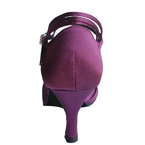 Jig Foo Sandalias con punta abierta Latina Salsa Tango Ballroom Dance zapatillas de mujer con tacón 7cm