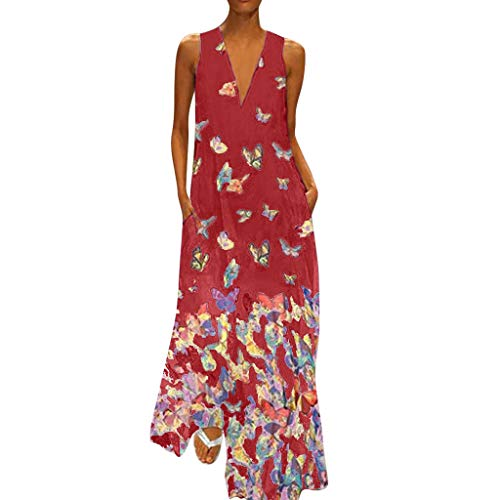 Womens Floral Casual Dress Summer Printing V-Neck Sleeveless Breathable Cool Feel Loose Party Long Sundress Plus Size (Red, 5XL) ()