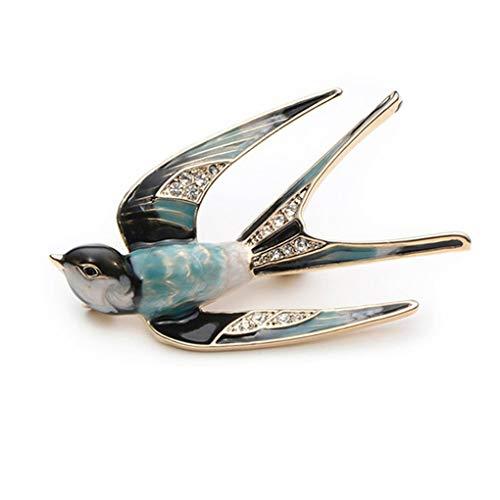 Meolin Lovely Enamel Swallow Brooch Pins Rhinestone Animal Bird Collection Custom Accessories Jewelry Gifts Women Teen Girls -