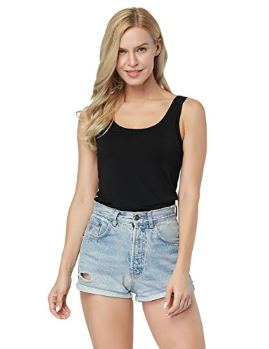 o Fiber Knit Sleeveless Scoop Neck T-Shirt Slim-Fit Tunic Tops Black Size S ()