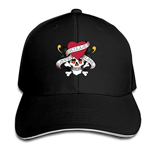 Ed Hardy Unisex Washed Twill Baseball Cap Adjustable Peaked Sandwich Hat