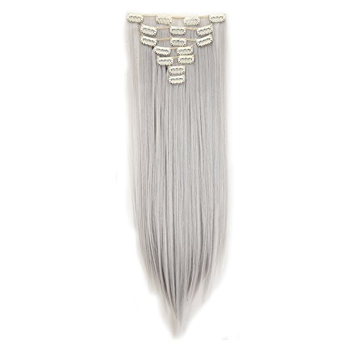 Clip in Hair Extensions Synthetic Full Head Charming Hairpieces Thick Long Straight 8pcs 18clips for Women Girls Lady (26 inches-straight, silver gray) by Beauti-gant (Image #1)