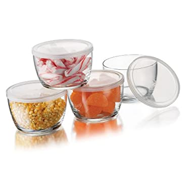 Libbey Glass Storage Bowls with Plastic Lids, 16-Ounce, Clear (4 Bowls , 4 Lids)
