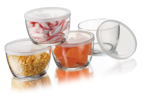 Tall Glass Bowl (Libbey Glass Storage Bowls with Plastic Lids, 16-Ounce, Clear (4 Bowls , 4)