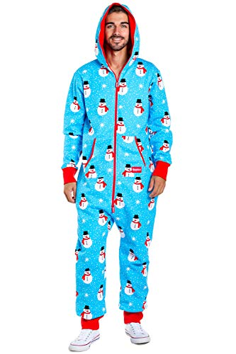 (Men's Christmas Onesie Pajamas - Blue Chilly Snowman Holiday Adult Jumpsuit: Large)