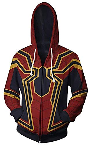AiK Superhero Halloween Cosplay Costume Mens Hoodie Jacket (RED/GORD, S)]()