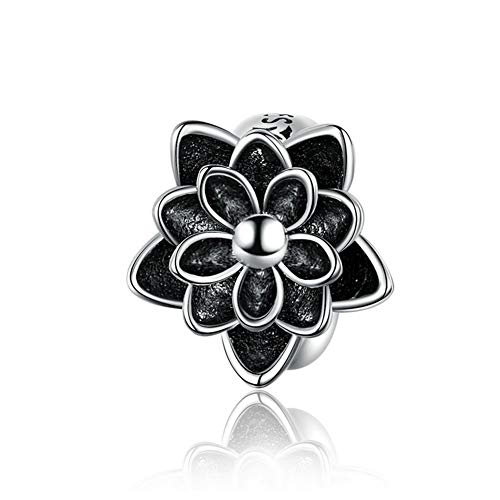 BAMOER Rose Flower Charm 925 Sterling Silver Love Charm Valentine Charm for DIY Making Jewelry Bracelet Women - Flower Sterling Charm Silver