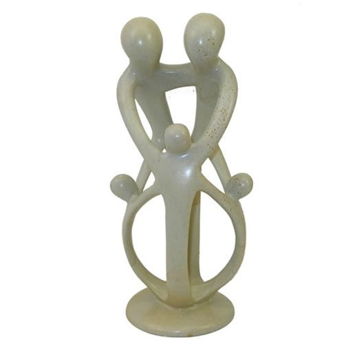 Soapstone Kinsfolk Sculpture-Two Parents & Three Children