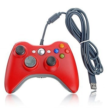 Third Party Made Red Wired USB Pad Joypad Game Controller For MICROSOFT Xbox 360 PC Windows