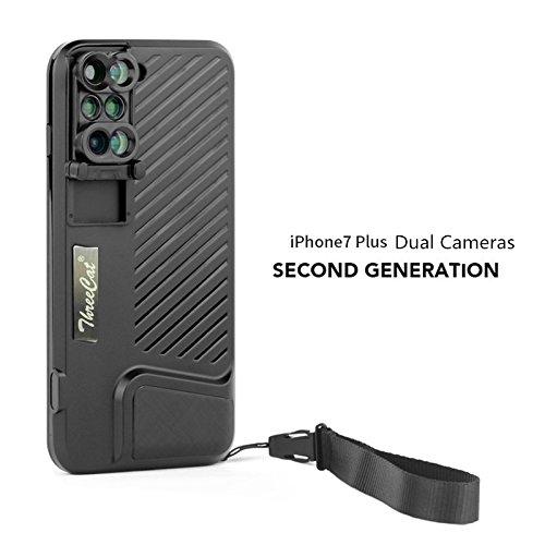 threecat 6 in-1 Cámara lente teléfono negro Caso para iPhone 7 ...