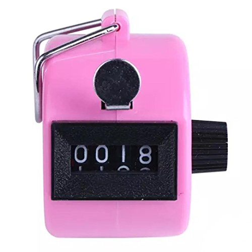 sill ღ Exclusive Color Digital Hand Held Tally Clicker Counter 4 Digit Number Clicker Golf Chrome (Pink) ()