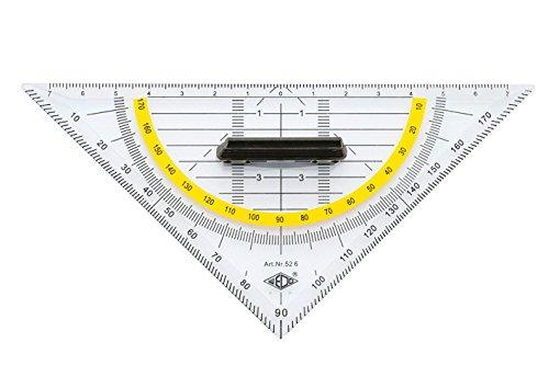 Wedo 526 Geometrie-Dreieck aus Kunststoff Hypotenuse abnehmbarem Griff, 16 cm, transparent