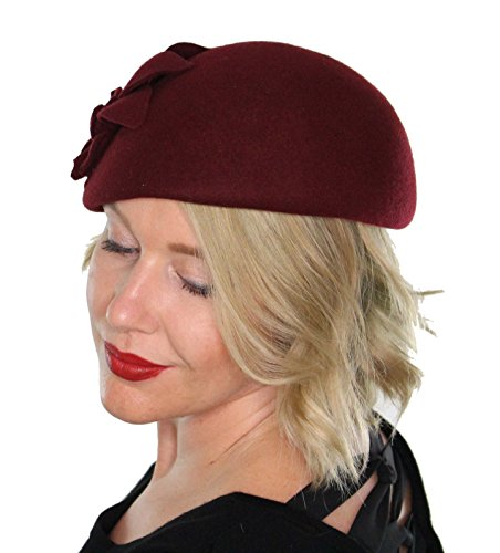 Annabel Pillbox Hat Wool with Flower Vintage Flapper Tea Party Church with Flower (Burgundy)