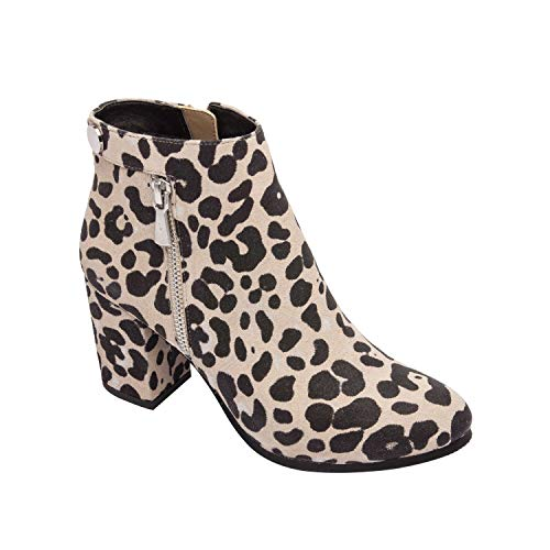 (PIC/PAY BRIT | Suede Mid Height Block Heel Zipper Fashion Ankle Bootie Comfortable Padded Arch Support Boot Leopard Print Suede 7M)
