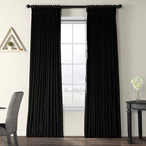 - Half Price Drapes VPCH-VET1212-96 Signature Doublewide Blackout Velvet Curtain, Black, 100 X 96