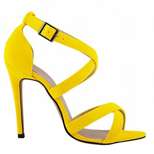 Wotefusi Women Summer Open Toe Crossing Bandage Ankle Strap Sandals Shoes High Heels Stilettos Yellow v28kkF