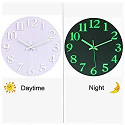 Haoun Night Light Wall Clock,12 Inch 3D Numbers Silent Wall Clock Glow in The Dark for Bedroom Living Room - White
