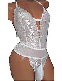 b9f192a432d Men s Underwear One Piece Halter Lace Bodysuit Leotard Lingerie Pajamas