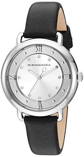 BCBGMAXAZRIA Women's Transparency Japanese-Quartz Watch with Leather Strap, Black, 11.3 (Model: BG50911001) ()