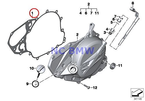 BMW Genuine Motorcycle Engine Housing Cover Left Gasket Left F700GS F650GS F800GS F800GS Adventure - Motor Housing Cover