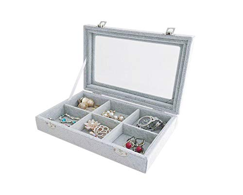(Svea Display Small Velvet Jewelry Organizer Stackable Tray with Glass Lid See Through 6 Removable Grid (Top)