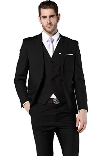 MOGU Men's Slim Fit 3 Piece Dress Suits Prom Dress Suit Set US Size 34 (Tag Asian Size L) Black