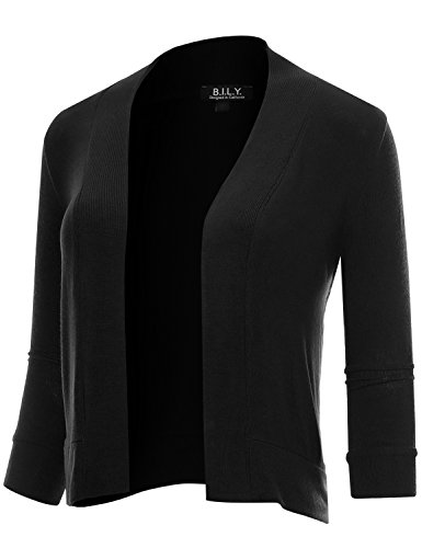 BH B.I.L.Y USA Women's Classic Open Front Cropped 3/4 Sleeve Cardigan Black X-Large ()