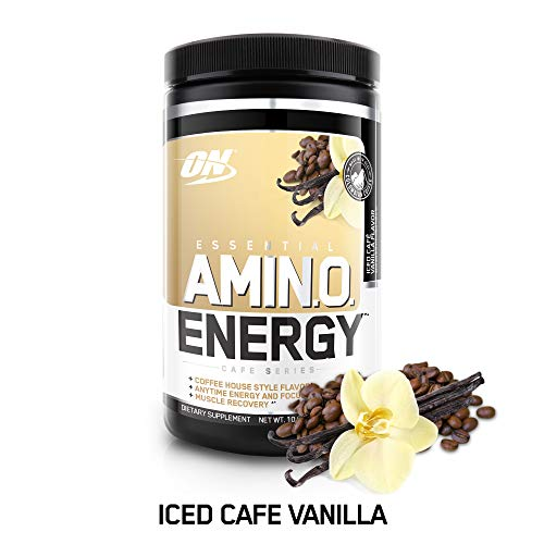 OPTIMUM NUTRITION ESSENTIAL AMINO ENERGY, Iced Vanilla Latte, Keto Friendly BCAAs, Preworkout and Essential Amino Acids with Green Tea and Green Coffee Extract, 30 Servings