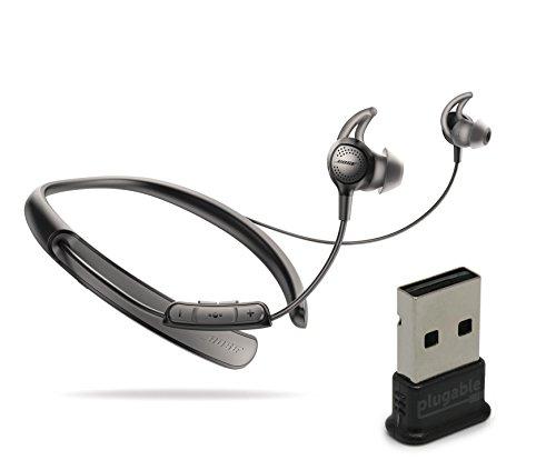 Bose QuietControl 30 Wireless Headphones, Black, with Plugable USB 2.0 Bluetooth Adapter (USB-BT4LE)