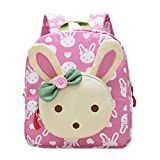 Nursery Kids Backpacks - Children School Bag Lunch Bag Rabbit Cartoon Preschool Rucksack Best Gift for 1-5 years old Boys and Girls (Pink, 27cm x 12cm x 23cm)
