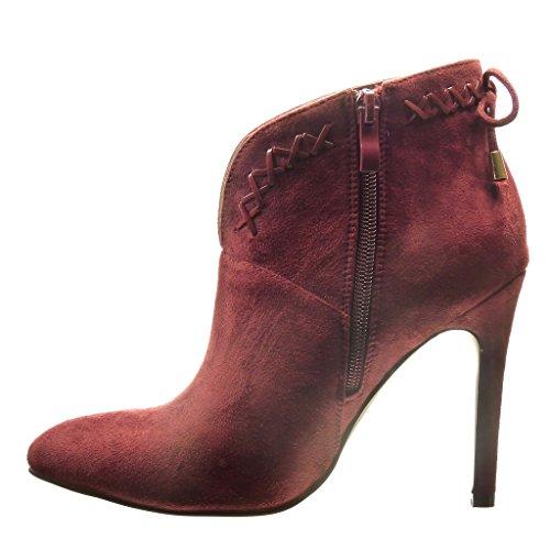Angkorly - Zapatillas de Moda Botines low boots sexy mujer nodo metálico cordones Talón Tacón de aguja alto 10.5 CM - Rojo