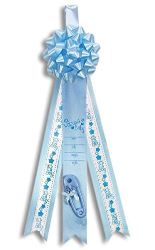 Welcome Baby Boy Birth Announcement Ribbon Large Blue Decorative Banner Gift Boxed
