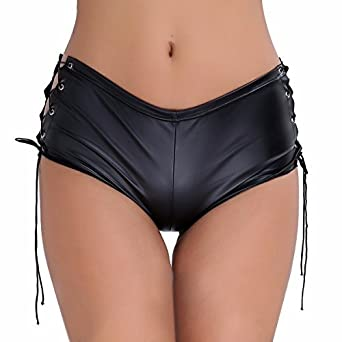 22792de95 Freebily Womens Patent Leather High Waist Lace Up Booty Shorts Rave Dance Briefs  Panties Clubwear Black
