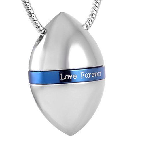 love of life SS8723 America Football Memorial Necklace Oval Ashes Keepsake Urn Pendant Cremation Ash Urn Jewelry (Silver+Blue) ()