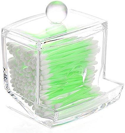 Demarkt Recinto de almacenaje para Bastoncillos algodón plástico Claro acrílico Bastoncillos Organizador Decoración del Hogar Caja de Algodón Caja de Varillas para Cosmético Claro: Amazon.es: Hogar