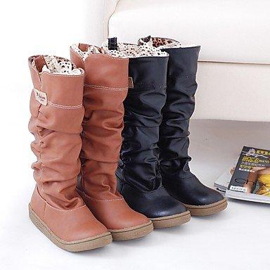 cuir décontracté automne pour Confort Boucle plat Bottes femmes Black Talon simili hiver robe Balades en P0nawqE