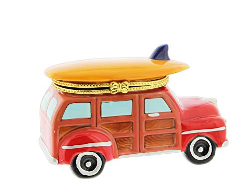 Porcelain Hinged Trinket Jewelry Box - The Bridge Collection Porcelain Station Wagon Trinket Box