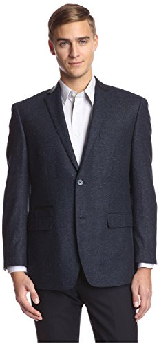 Andrew Marc Men's 2 Button Herringbone Sportcoat, Navy, 42R ()