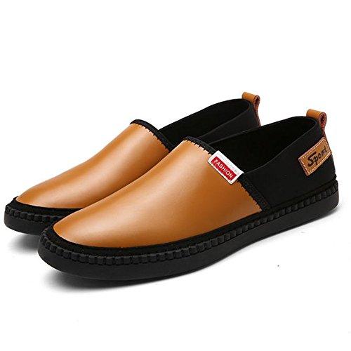 Zapatos Verano Suave Fondo de los Suave Ocasionales Cuero Hombres Amarillo Antideslizantes de de Zapatos de 8nHCq